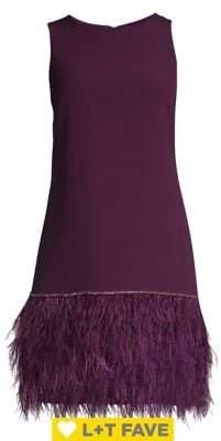 Tahari Arthur S. Levine Feather-Trimmed Crepe Sheath Dress