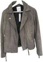 MANGO Green Leather Jacket for Women
