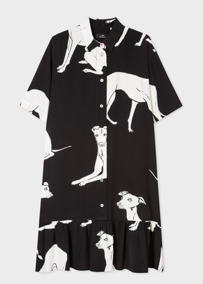 Paul Smith Women's Black Ecovero Viscose-Blend 'Greyhound' Print Shirt Dress