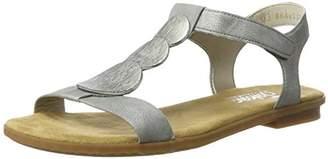 Rieker Women's 64263 Closed Toe Sandals, Silver (Argento 90)