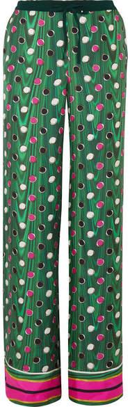 Mary Katrantzou Magaw Printed Silk-satin Twill Wide-leg Pants - Green