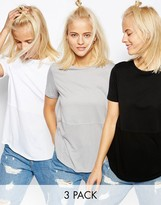 Asos Contrast Ribbed Panel T-Shirt 3 Pack