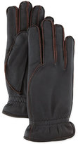 Loro Piana Leather Gloves with Cashmere Lining, Dark Brown