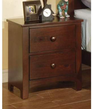 Simple Relax Nightstand Contemporary Style in Brown Finish