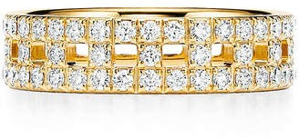 Tiffany & Co. & Co. T True wide ring in 18k gold with pave diamonds, 5.5 mm wide - Size 13