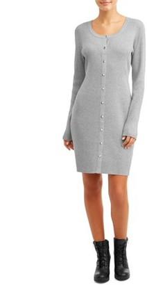 No Boundaries Juniors' Long Sleeve Scoop Neck Snap Front Dress