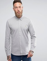 Farah Slim Pique Button Through Shirt in Beige