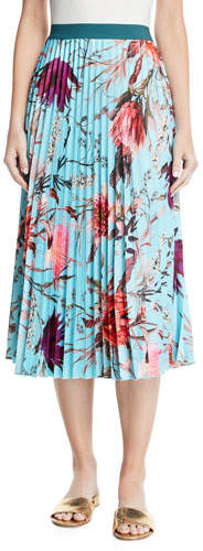 Fuzzi Pleated Botanical Floral Midi Skirt