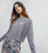 New Look Sequin Bonjour Sweater