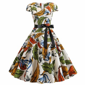 ZatRuiZE Women's Vintage 1950s Rockabilly Cocktail Dresses Short Sleeve Floral Printing Aline Dress Swing Party Dresses Summer for Women White Yellow