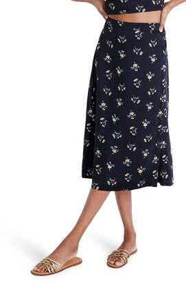 Madewell Daisy Print Side-Button Midi Skirt