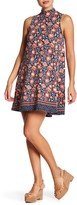 Angie Mock Neck Printed Swing Dress