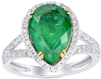 Diana M Fine Jewelry 18K Two-Tone 4.96 Ct. Tw. Diamond & Emerald Ring