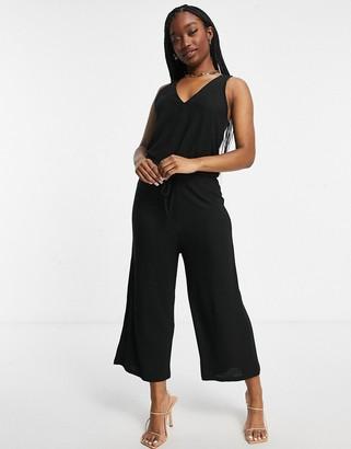Peek & Beau lounge rib slouchy jumpsuit in black