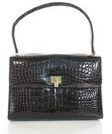 Lambertson Truex Brown Crocodile Fold Over Shoulder Handbag
