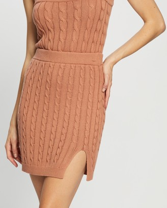 Atmos & Here Atmos&Here - Women's Brown Mini skirts - Kylie Knit Cable Skirt - Size S at The Iconic