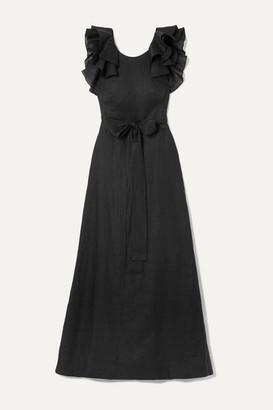 Kalita Eros Belted Ruffled Linen Maxi Dress - Black