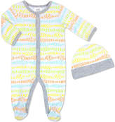 Baby Essentials Gray & Orange Scribble Footie & Beanie - Infant