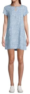 John Paul Richard Petite Printed Short-Sleeve Shift Dress