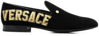 Versace Logo Embroidered Slipper