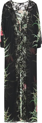 Adriana Degreas Lace-paneled Floral-print Silk Crepe De Chine Coverup