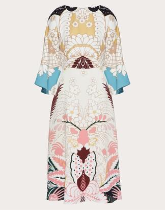 Valentino Printed Cady Dress Women Light Blue/multicolor Silk 100% 38