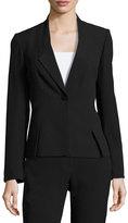 Tahari ASL Slant-Seamed One-Button Blazer Jacket, Black