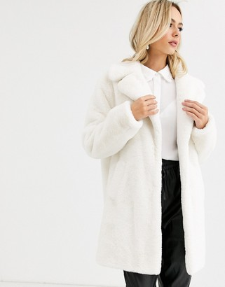 New Look faux fur coat in cream