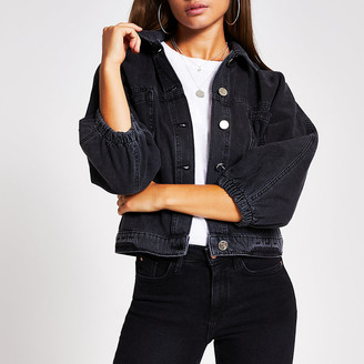 River Island Black long sleeve cinched waist denim jacket