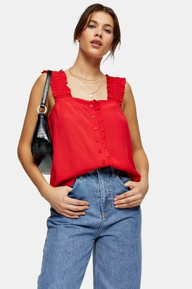 Topshop Red Button Frill Cami