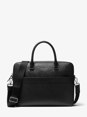Michael Kors Harrison Saffiano Leather Front-Zip Briefcase