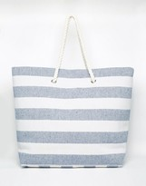 South Beach Navy Stripe Beach Bag