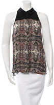 A.L.C. Printed Sleeveless Button-Up Top