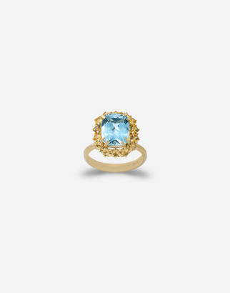 Dolce & Gabbana Heritage Ring In Yellow Gold, Acquamarine And Yellow Sapphires