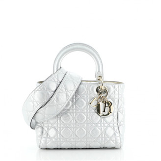 Christian Dior Silver Leather Handbags