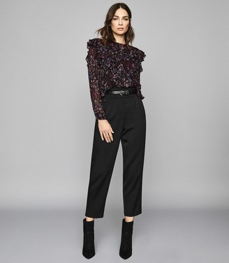 Reiss Faiza - Floral Printed Ruffle Neck Blouse in Black