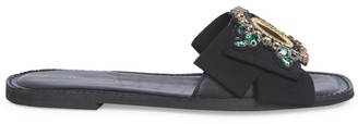 Dries Van Noten Embellished Bow Flat Leather Sandals