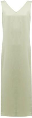 Raey High V-neck Silk Midi Dress - Womens - Light Green