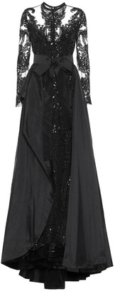 Elie Saab Embellished lace and taffeta gown