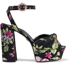 Dolce & Gabbana Knotted Metallic Brocade Platform Sandals