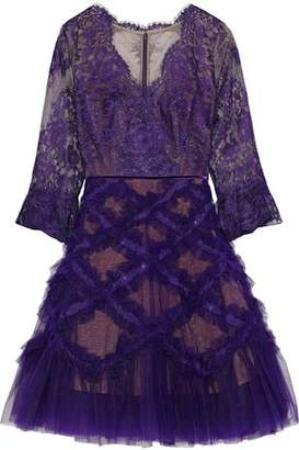 Marchesa Flared Appliqued Tulle And Lace Dress