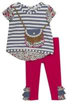 Rare Editions Baby Girl's Mixed Print Top and Leggings Set