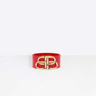 Balenciaga BB Leather Bracelet in bright red shiny box calfskin