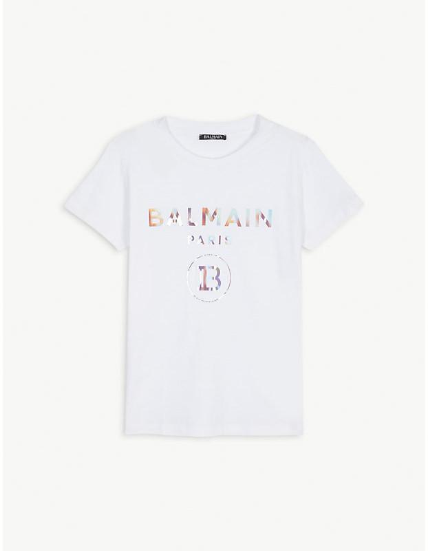Balmain Rainbow logo cotton t-shirt 4-16 years