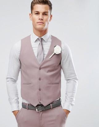 Asos DESIGN wedding skinny suit vest in mink