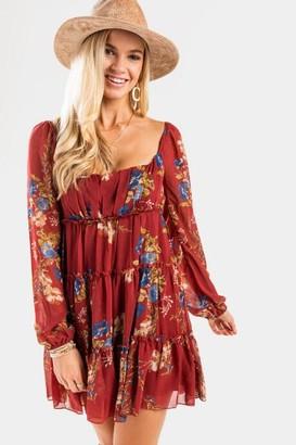francesca's Stella Floral Babydoll Mini Dress - Red