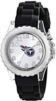 """Game Time Youth NFL-FLB-TEN """"Flash"""" Round Metal Watch with Black Silicone Band"""