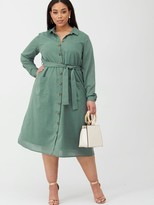 Junarose Lyza Utility Shirt Dress - Green
