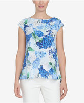 CeCe Boat-Neck Floral-Print Top