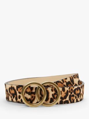 John Lewis & Partners Olivia Double O Ring Buckle Leather Belt, Leopard